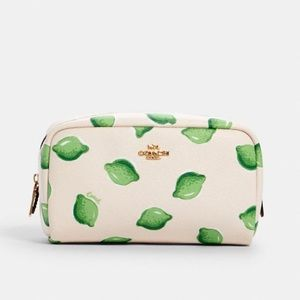 Coach lime print cosmetic case